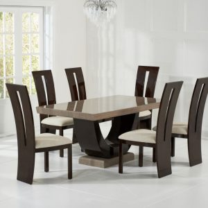 Mark Harris Rivilino Brown Marble Dining Set - 6 Valencie Brown Dining Chairs