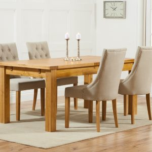 Mark Harris Rustique Oak 180cm Extending Dining Set - 4 Pailin Beige Chair