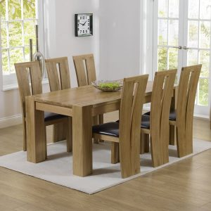 Mark Harris Tampa Oak 180cm Dining Set - 6 Arizona Brown Chairs