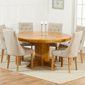Mark Harris Turin Oak 150cm Round Dining Set - 6 Pailin Beige Chairs