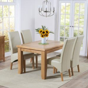 Mark Harris York Oak 130cm Extending Dining Set - 4 Roma Cream Dining Chairs