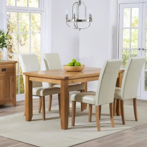 Mark Harris York Oak 140cm Dining Set - 4 Atlanta Cream Dining Chairs