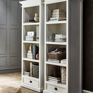 Nova Solo Halifax White Painted Bookcase - 2 Drawer