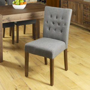 Novian Dining Chair In Slate With Walnut Legs In A Pair