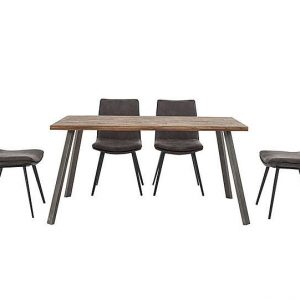 Ranger Dining Table and 4 Grey Dining Chairs - Brown - By Furniture Village