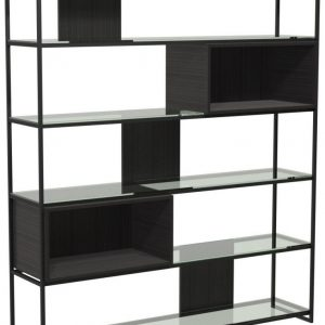 Regents Wenge Bookcase Black Metal Frame - High