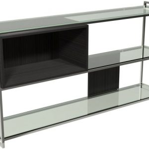 Regents Wenge Bookcase with Polished Chrome Frame - Low