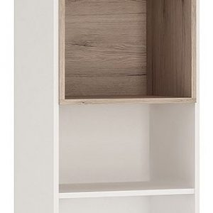 Taranto Light Oak and White Bookcase - Tall 2 Drawer with Opalino Handles