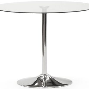 Vida Living Orbit Small Clear Glass Round Fixed Top Dining Table - 90cm