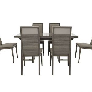 ALF - Movado Extending Dining Table and 6 Dining Chairs Set - 250-cm - Grey