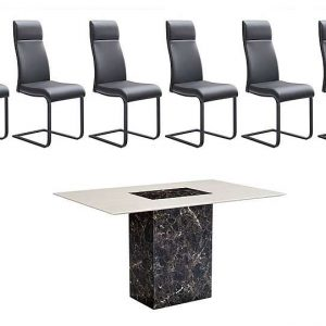 Albarino Dining Table and 6 Dining Chairs Set - Brown - By Furniture Village