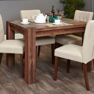 Baumhaus Shiro Walnut Dining Set - 4 Flare Back Biscuit Chairs