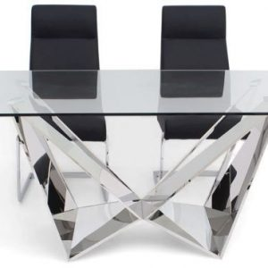Florentina Glass Dining Set with Stainless Steel Base - 200cm Rectangular with 4 Dante Black Chairs