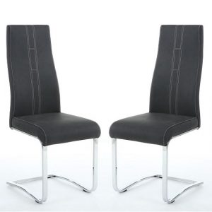 Hanover Cantilever Dining Chairs In Dark Grey Fabric In A Pair