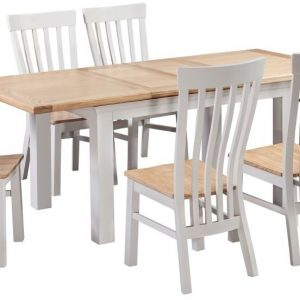 Homestyle Cotswold Painted Extending Dining Set - 6 Solid Seat Chairs