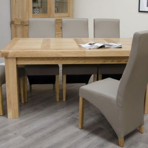 Homestyle GB Bordeaux Oak Twin Panel Large Rectangular Extending Dining Set with 6 Wave Mushroom Chairs - 180cm-260cm