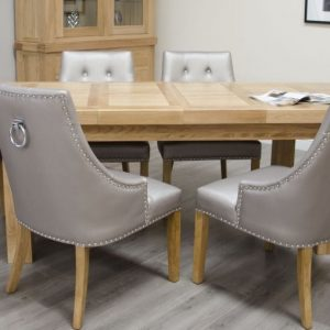 Homestyle Homestyle GB Bordeaux Oak Rectangular Extending Dining Set with 6 Marjukka Stone Chairs - 180cm-260cm