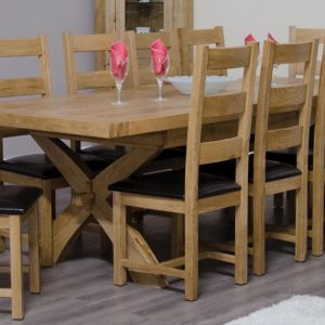 Homestyle Homestyle GB Deluxe Oak Rectangular Extending Dining Set with 10 Ladder Back Chairs - 180cm-260cm