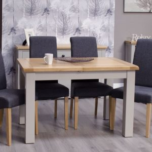 Homestyle Homestyle GB Diamond Painted Rectangular Extending Dining Set with 4 Chairs - 120cm-153cm