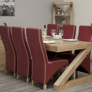 Homestyle Homestyle GB Z Oak Designer Rectangular Dining Set with 6 Wave Ruby Bone Chairs - 180cm