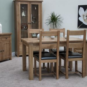 Homestyle Rustic Oak Extending Dining Set - 4 Rustic Leather Seat Chairs