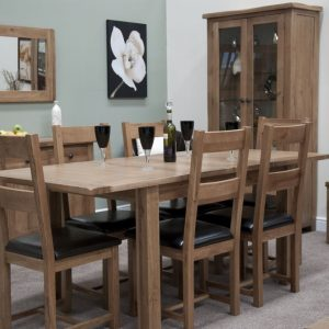 Homestyle Rustic Oak Extending Dining Set - 6 Rustic Leather Seat Chairs