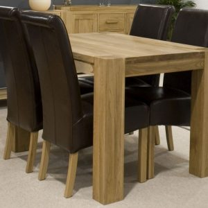 Homestyle Trend Oak Small Dining Set - 4 Richmond Brown Leather Chairs