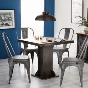 Indian Hub Evoke Iron and Wooden Industrial Square Dining Set with 4 Cosmo Grey Chairs