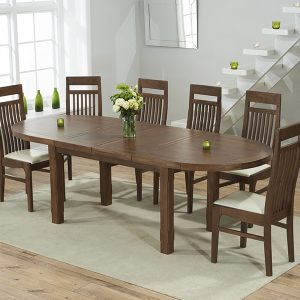Mark Harris Cheyenne Dark Oak Oval Extending Dining Set - 6 Monte Carlo Cream Chairs