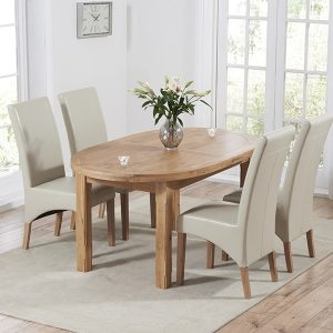 Mark Harris Cheyenne Oak Oval Extending Dining Set - 4 Roma Cream Bycast Leather Chairs