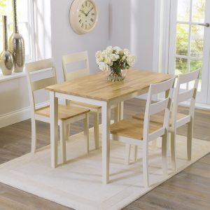 Mark Harris Chichester Oak and Cream 115cm Dining Set - 4 Chairs