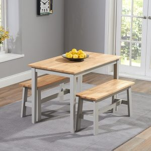 Mark Harris Chichester Oak and Grey 115cm Dining Set - 2 Benches