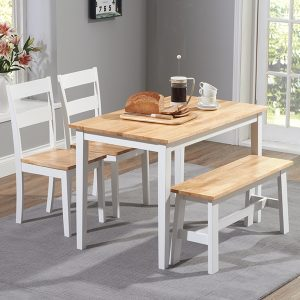 Mark Harris Chichester Oak and White 115cm Dining Set - 2 Chairs and Bench