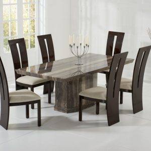 Mark Harris Como Brown Marble Dining Set - 6 Valencie Brown Chairs