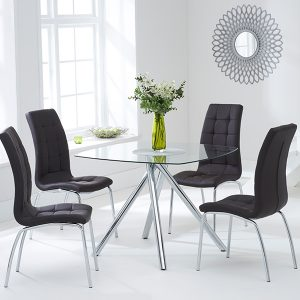 Mark Harris Elba 100cm Glass Dining Set - 4 California Brown Chairs