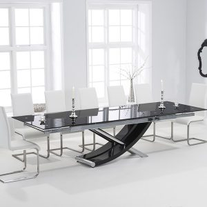 Mark Harris Hanover 210cm Black Glass Extending Dining Set - 6 Malibu White Chairs