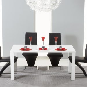 Mark Harris Hereford White High Gloss Dining Set - - 4 Black Hereford Chairs