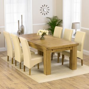 Mark Harris Laurent Oak 230cm Extending Dining Set - 6 Roma Cream Chairs