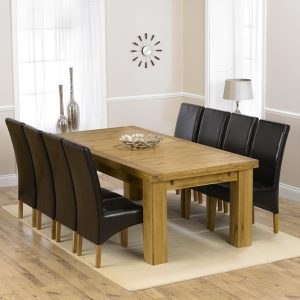 Mark Harris Laurent Oak 230cm Extending Dining Set - 8 Roma Brown Chairs