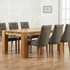 Mark Harris Madrid Oak 240cm Dining Set - 6 Pailin Grey Chairs