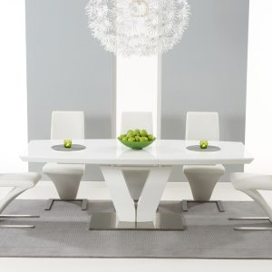 Mark Harris Malibu White High Gloss Extending Dining Set - 6 Hereford White Dining Chairs