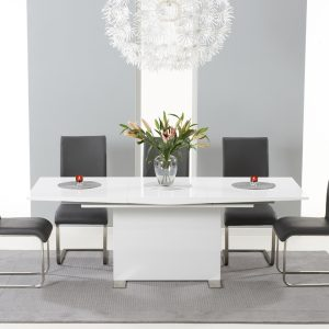 Mark Harris Marila White High Gloss Extending Dining Set - 6 Grey Malibu Chairs