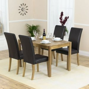 Mark Harris Promo Solid Oak Dining Set - 120cm with 4 Atlanta Black Faux Leather Chairs