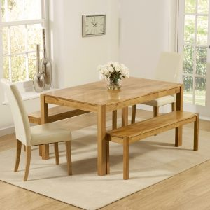 Mark Harris Promo Solid Oak Dining Set - 150cm with 2 Atlanta Cream Faux Leather Chairs and 2 Benches