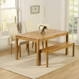 Mark Harris Promo Solid Oak Dining Set - 150cm with 2 Atlanta Cream Faux Leather Chairs and Bench