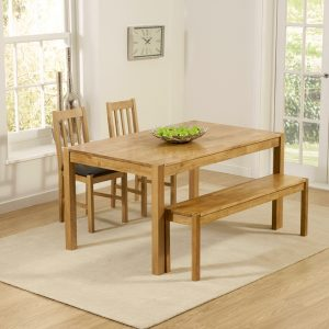 Mark Harris Promo Solid Oak Dining Set - 150cm with 2 Brown Chairs and Bench