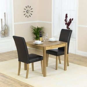 Mark Harris Promo Solid Oak Dining Set - 80cm with 2 Atlanta Brown Faux Leather Chairs