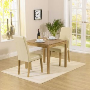 Mark Harris Promo Solid Oak Dining Set - 80cm with 2 Atlanta Cream Faux Leather Chairs