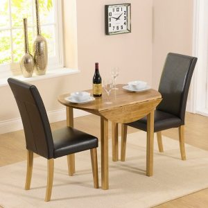 Mark Harris Promo Solid Oak Dining Set - 90cm Round Extending with 2 Atlanta Brown Faux Leather Chairs