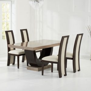 Mark Harris Rivilino Brown Marble Dining Set - 4 Chairs